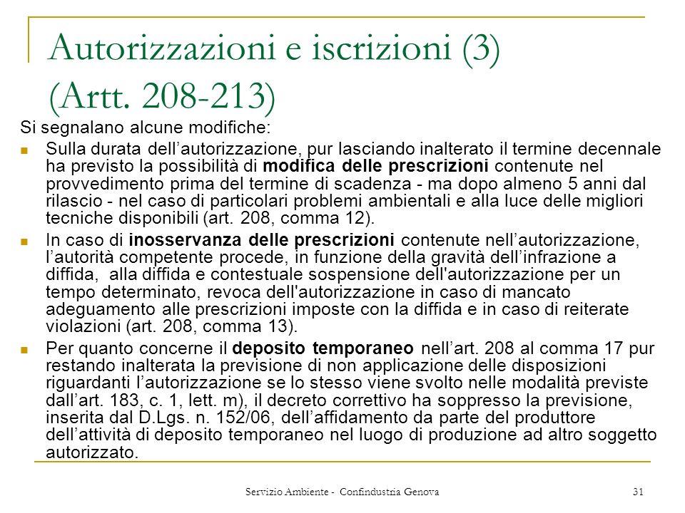 Autorizzazioni e iscrizioni (3) (Artt. 208-213)