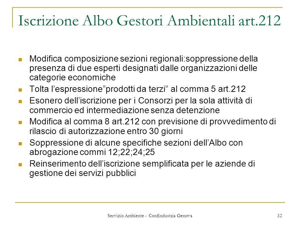 Iscrizione Albo Gestori Ambientali art.212