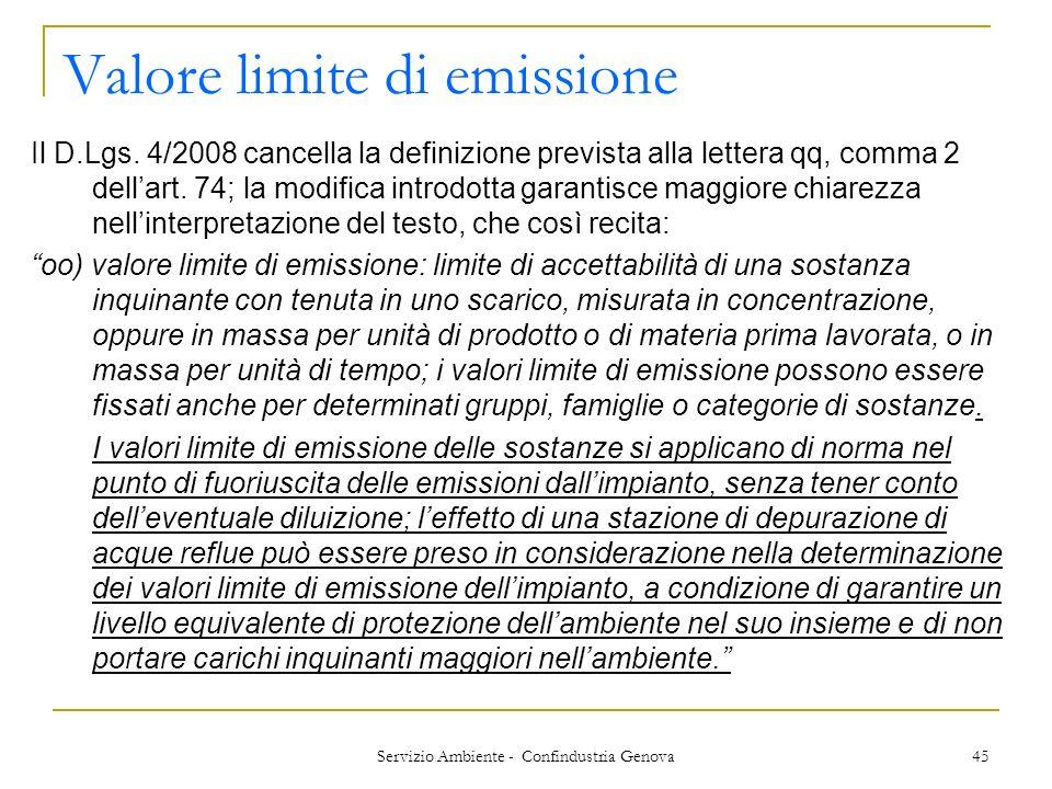 Valore limite di emissione