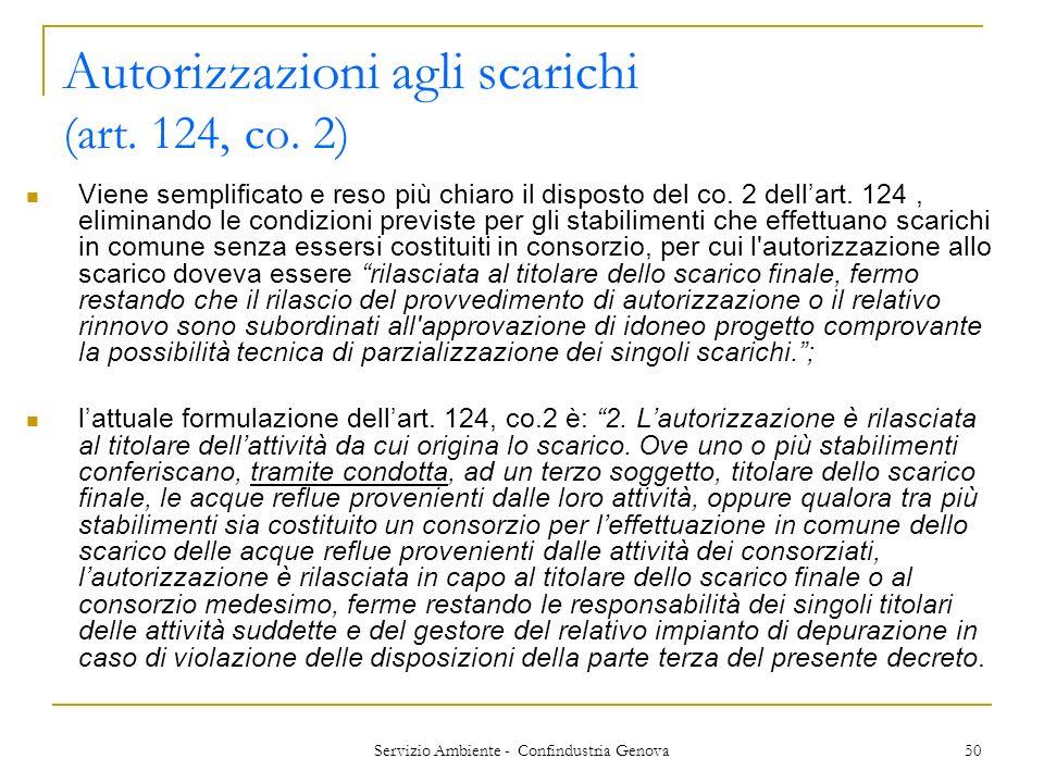 Autorizzazioni agli scarichi (art. 124, co. 2)