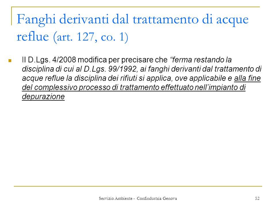 Fanghi derivanti dal trattamento di acque reflue (art. 127, co. 1)