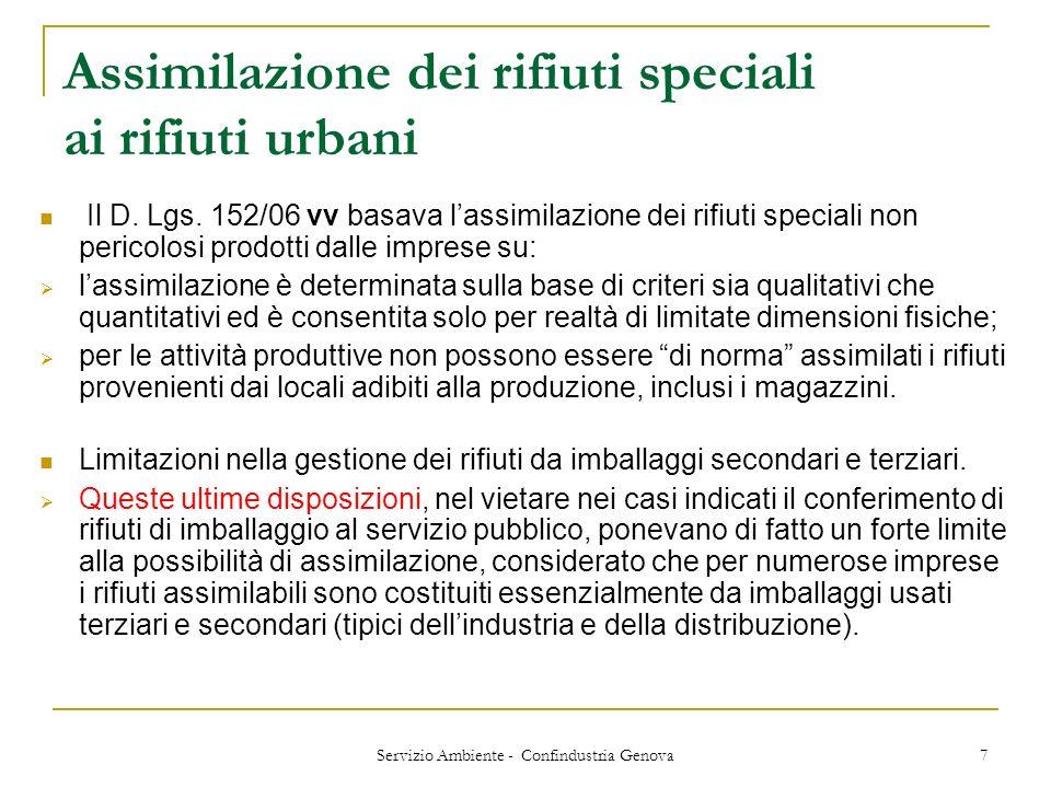 Assimilazione dei rifiuti speciali ai rifiuti urbani