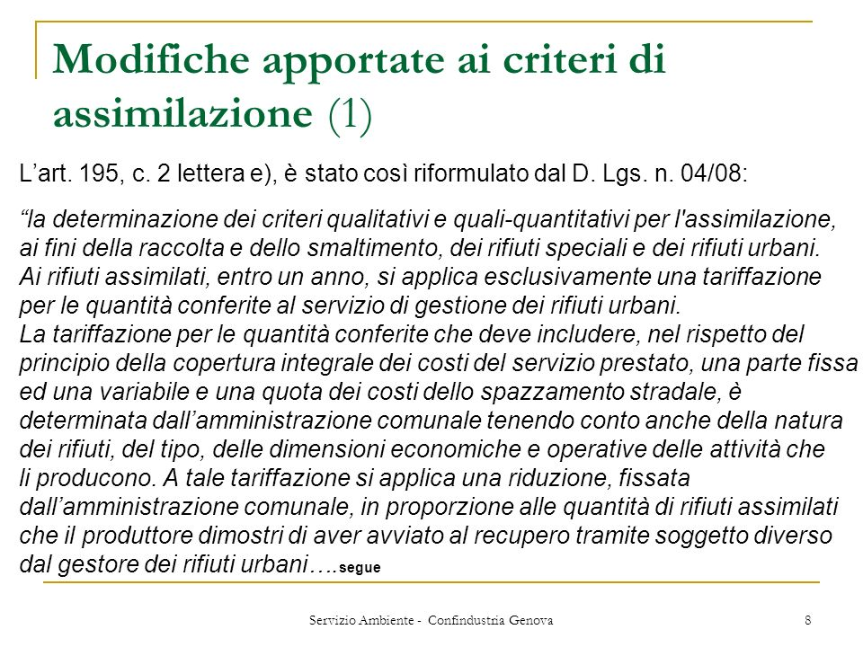 Modifiche apportate ai criteri di assimilazione (1)
