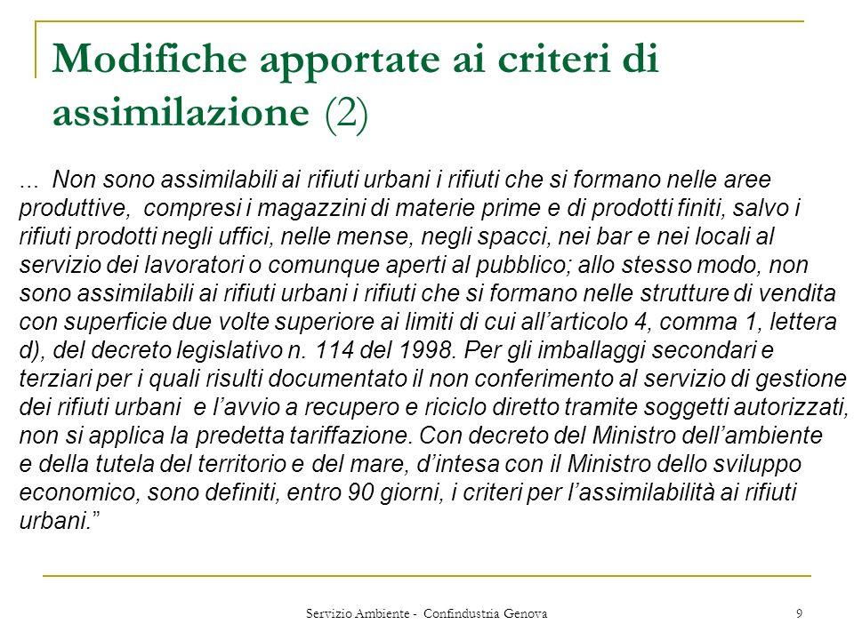 Modifiche apportate ai criteri di assimilazione (2)