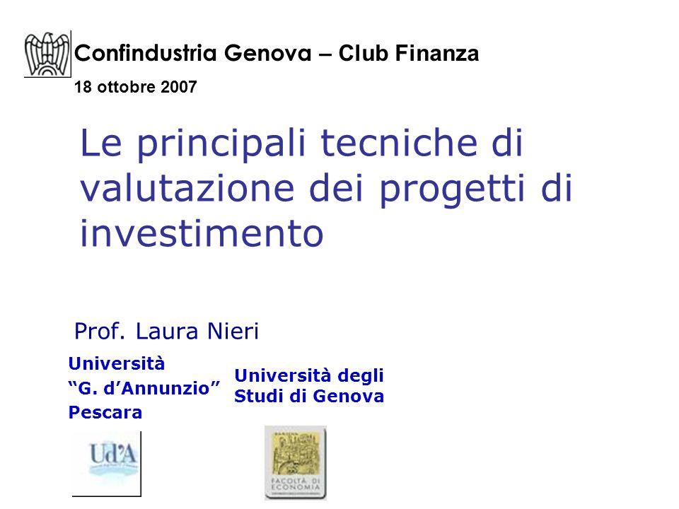 Le principali tecniche di valutazione dei progetti di investimento