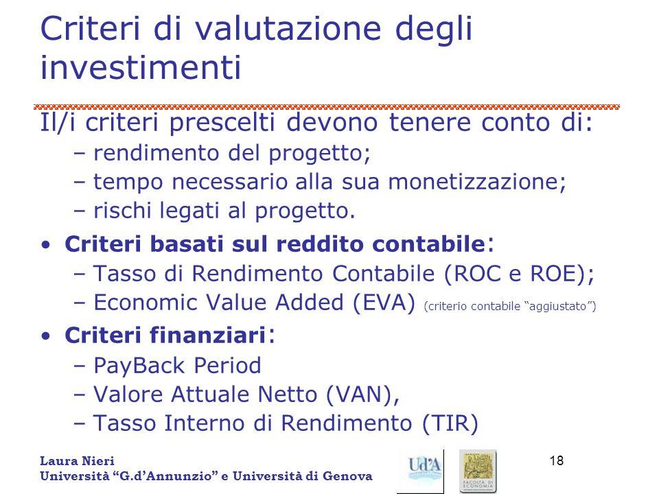 Criteri di valutazione degli investimenti