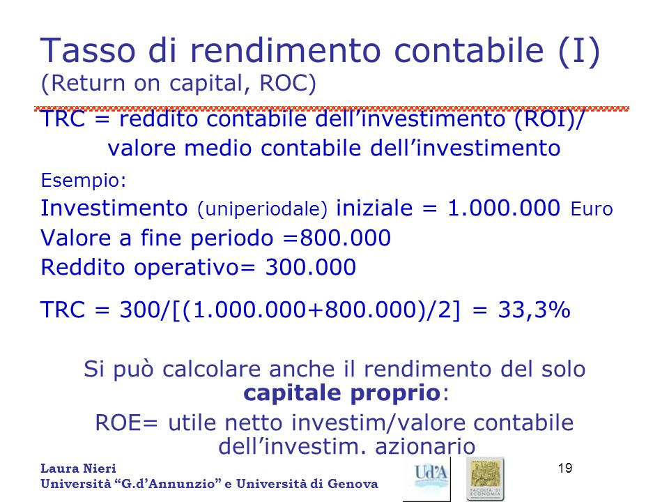 Tasso di rendimento contabile (I) (Return on capital, ROC)