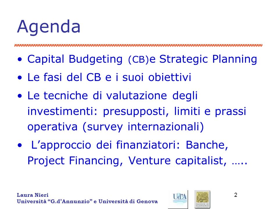 Agenda Capital Budgeting (CB)e Strategic Planning