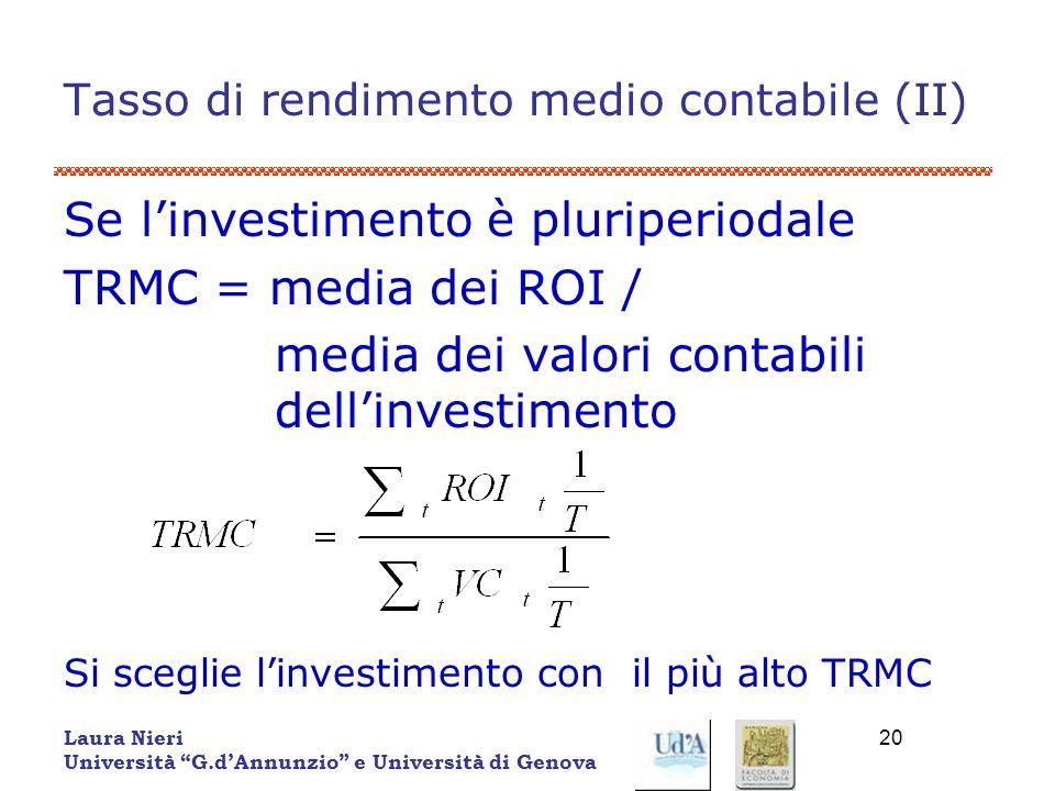Tasso di rendimento medio contabile (II)
