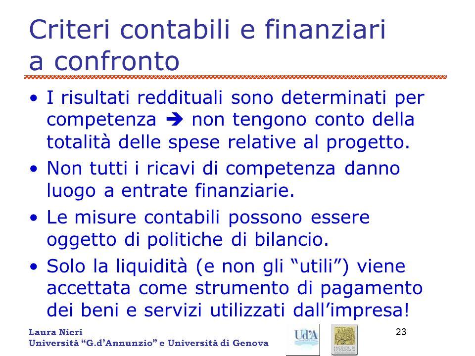 Criteri contabili e finanziari a confronto