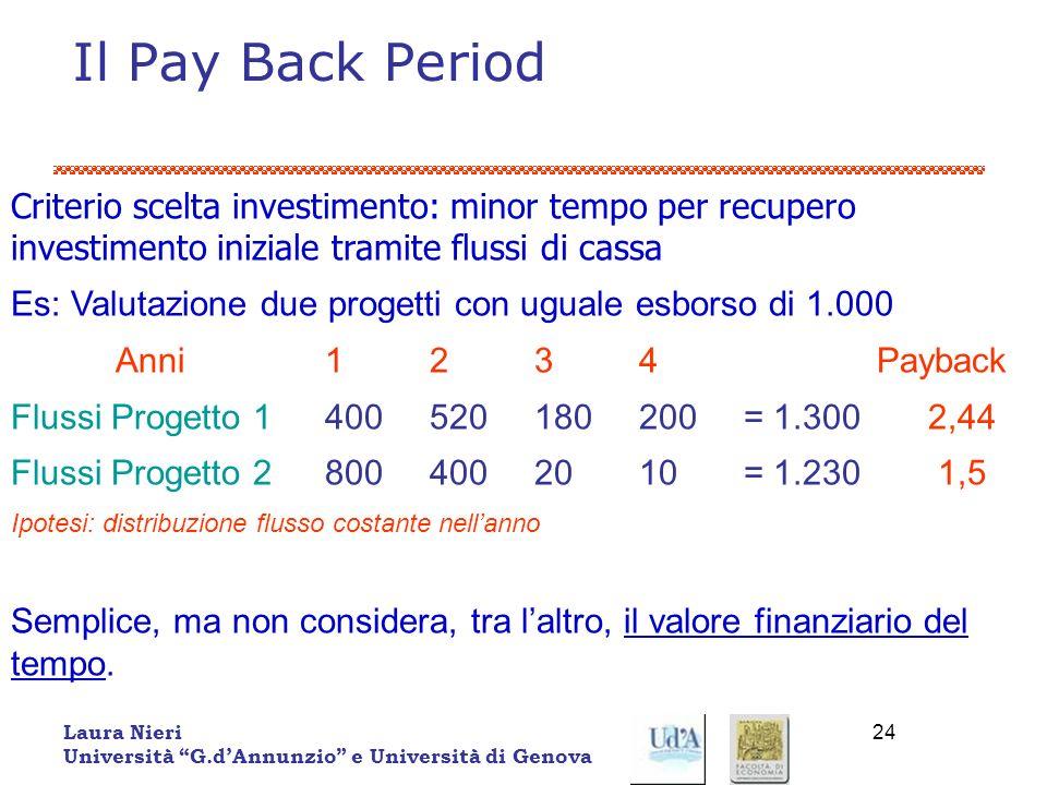 Il Pay Back Period Criterio scelta investimento: minor tempo per recupero investimento iniziale tramite flussi di cassa.