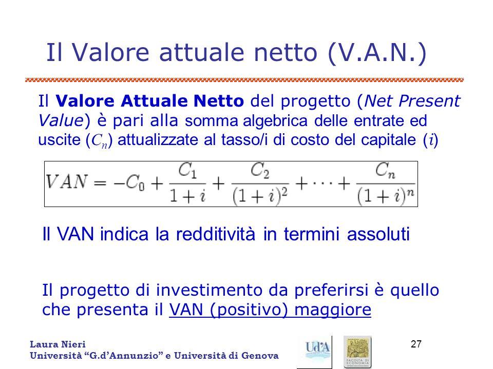 Il Valore attuale netto (V.A.N.)