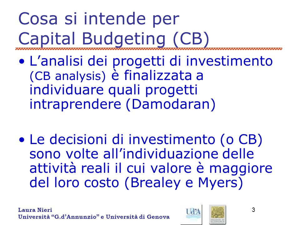 Cosa si intende per Capital Budgeting (CB)