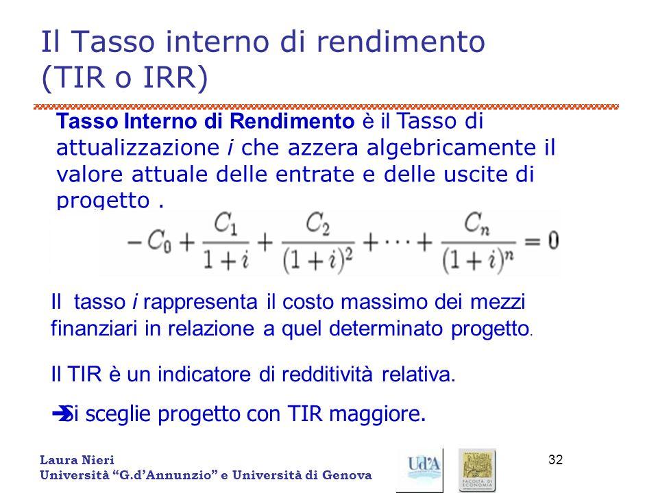 Il Tasso interno di rendimento (TIR o IRR)