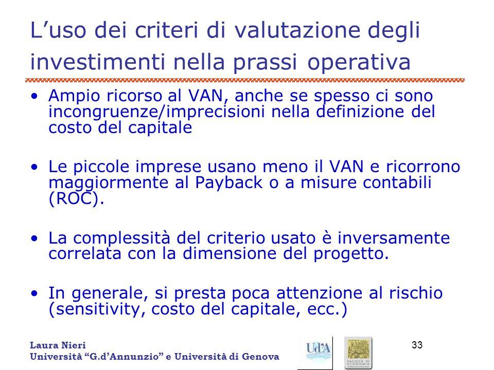 L'uso dei criteri di valutazione degli investimenti nella prassi operativa