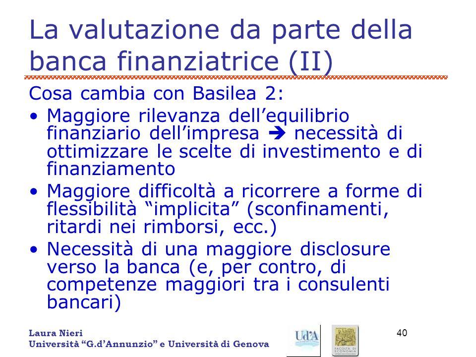 La valutazione da parte della banca finanziatrice (II)