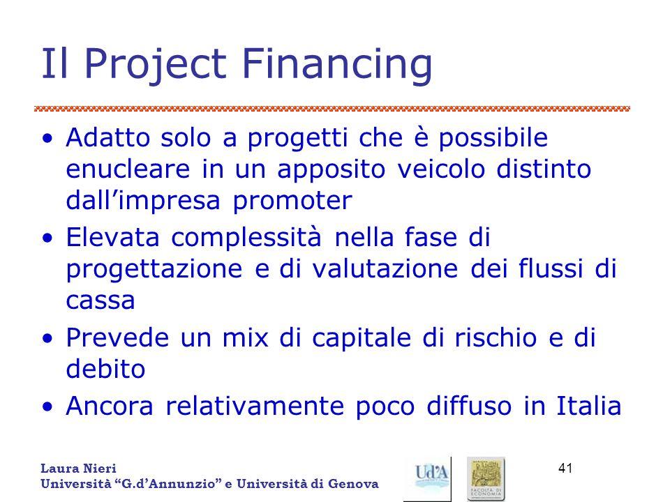 Il Project Financing Adatto solo a progetti che è possibile enucleare in un apposito veicolo distinto dall'impresa promoter.