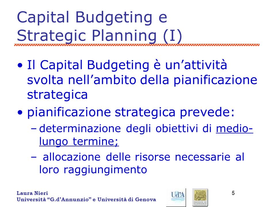 Capital Budgeting e Strategic Planning (I)