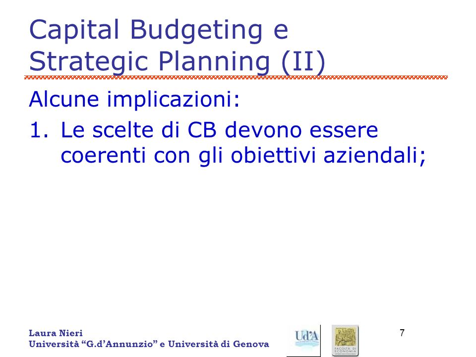 Capital Budgeting e Strategic Planning (II)