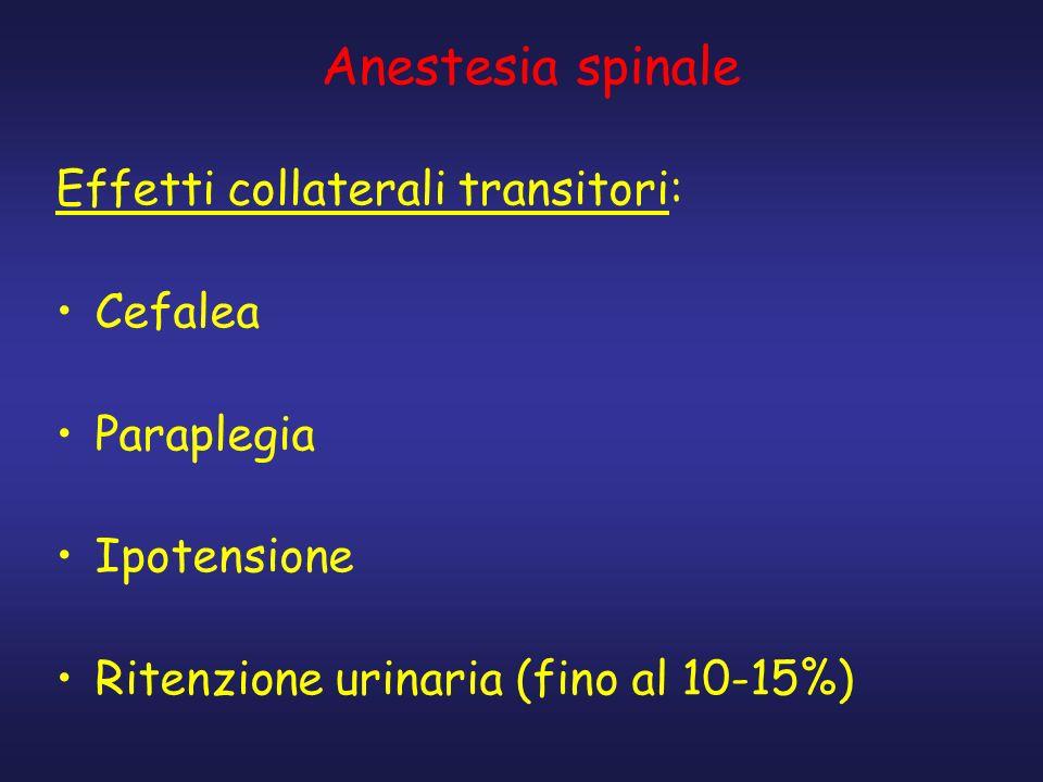 Anestesia spinale Effetti collaterali transitori: Cefalea Paraplegia