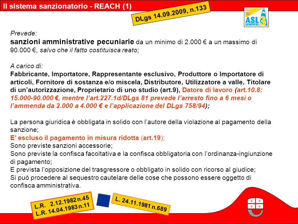 Il sistema sanzionatorio - REACH (1)