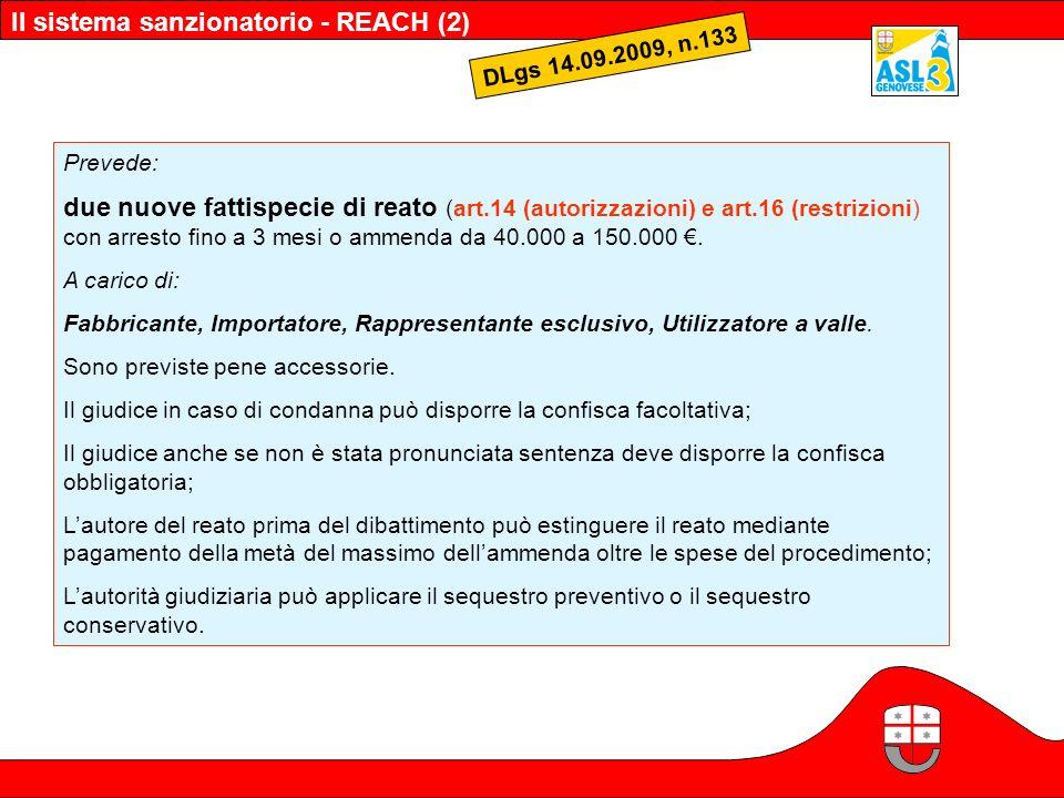 Il sistema sanzionatorio - REACH (2)