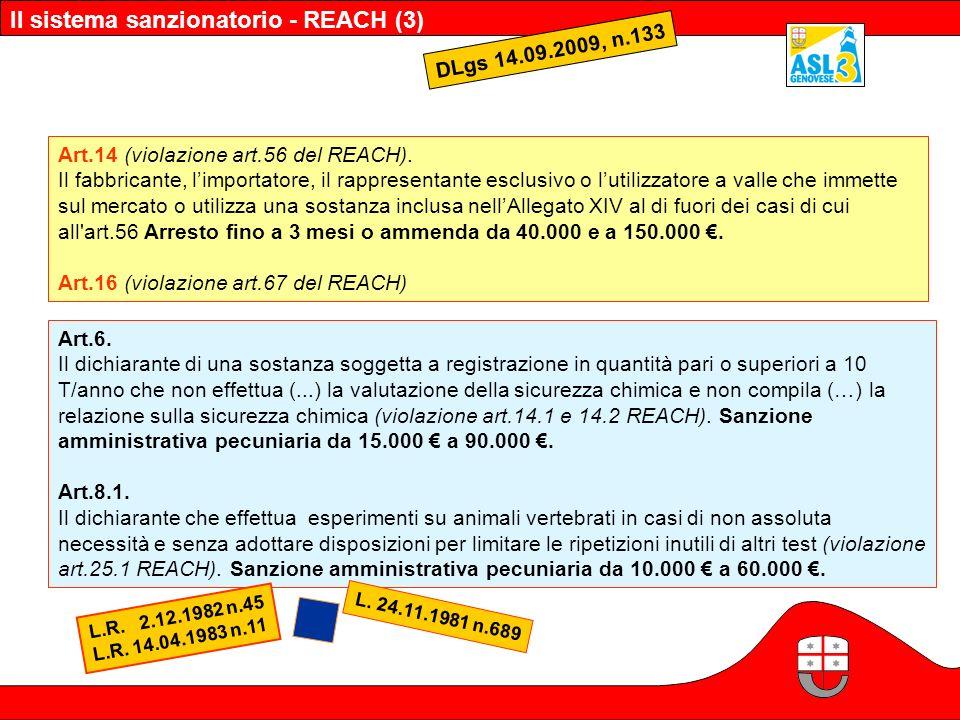 Il sistema sanzionatorio - REACH (3)