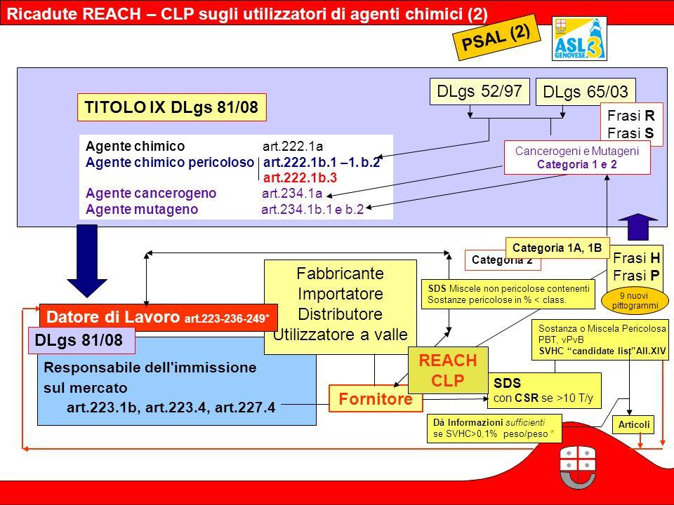 Ricadute REACH – CLP sugli utilizzatori di agenti chimici (2) PSAL (2)