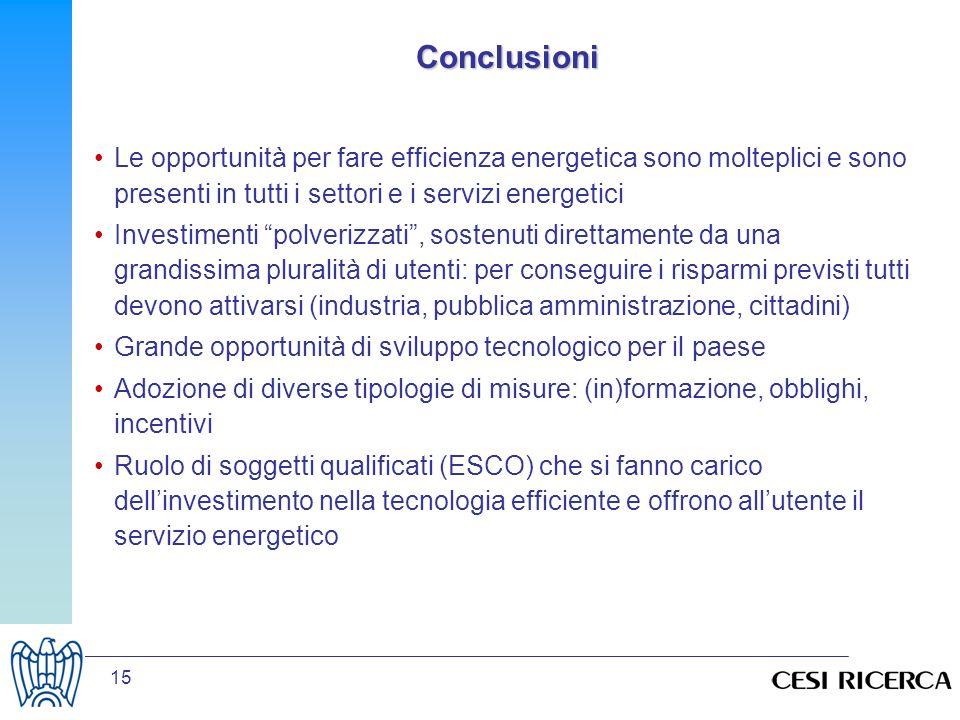 Conclusioni Le opportunità per fare efficienza energetica sono molteplici e sono presenti in tutti i settori e i servizi energetici.