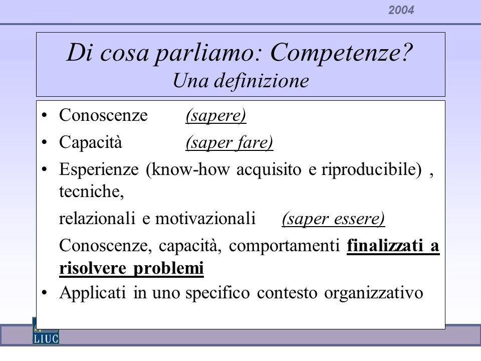 Di cosa parliamo: Competenze Una definizione