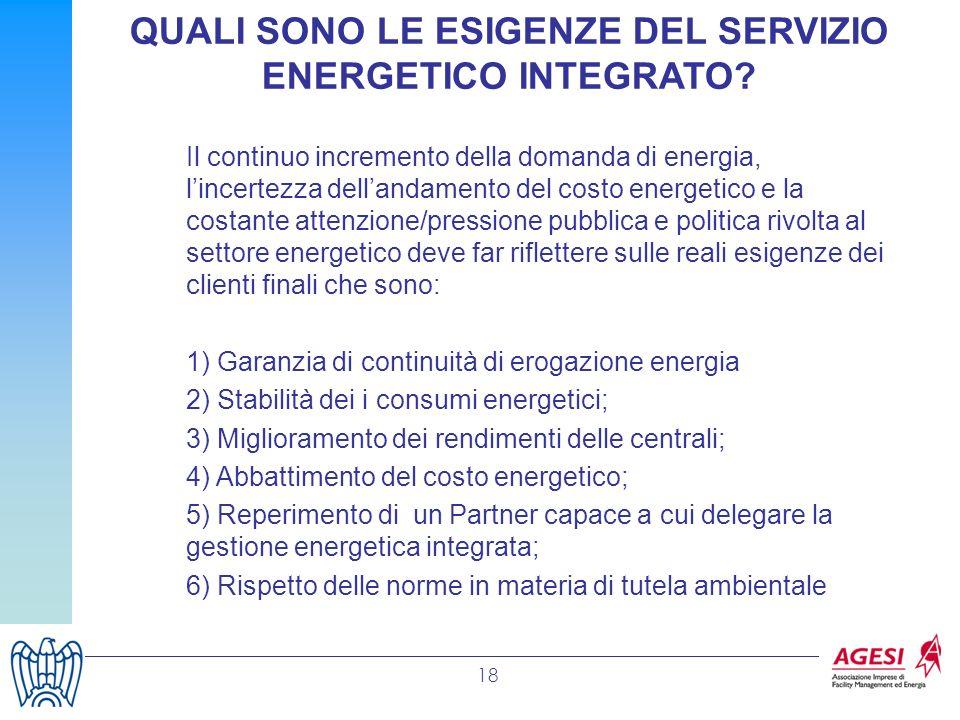 QUALI SONO LE ESIGENZE DEL SERVIZIO ENERGETICO INTEGRATO