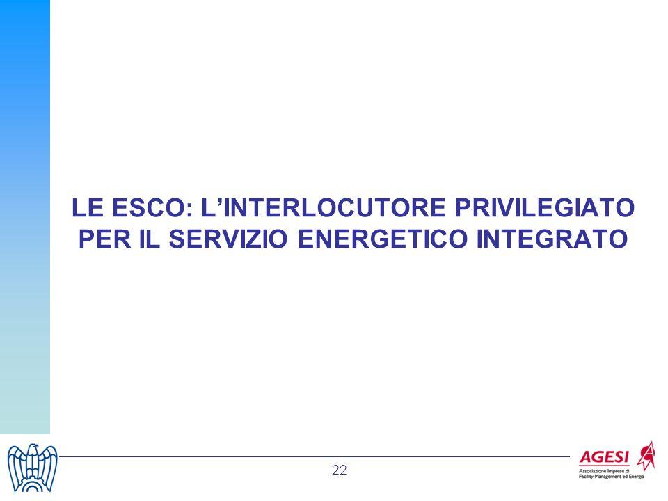 LE ESCO: L'INTERLOCUTORE PRIVILEGIATO PER IL SERVIZIO ENERGETICO INTEGRATO