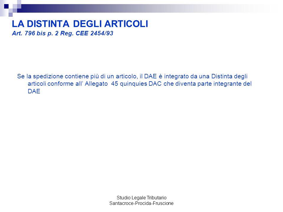 LA DISTINTA DEGLI ARTICOLI Art. 796 bis p. 2 Reg. CEE 2454/93