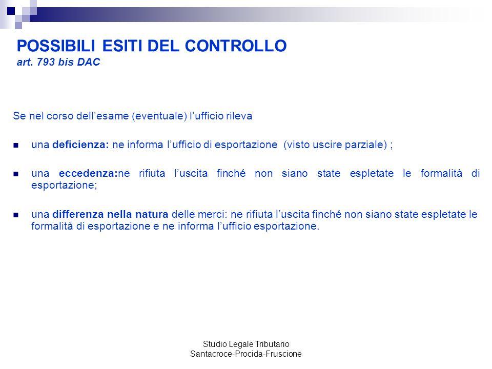 POSSIBILI ESITI DEL CONTROLLO art. 793 bis DAC