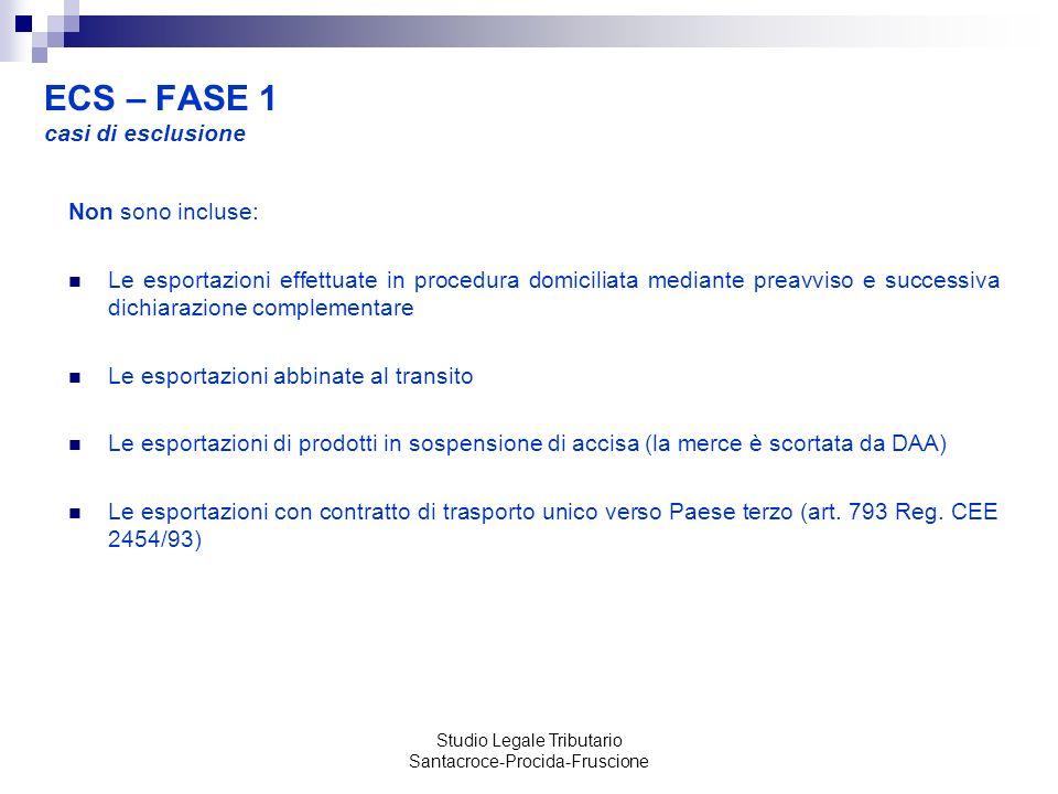 ECS – FASE 1 casi di esclusione