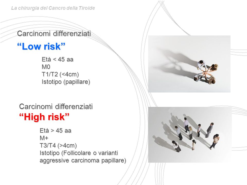 Low risk High risk Carcinomi differenziati Carcinomi differenziati