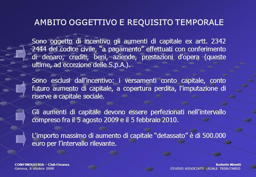 AMBITO OGGETTIVO E REQUISITO TEMPORALE