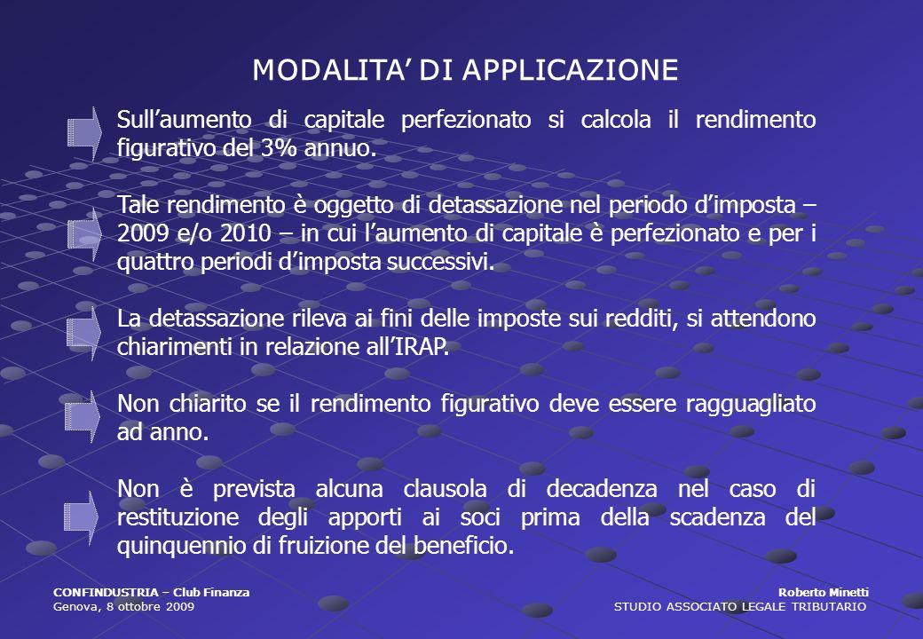 MODALITA' DI APPLICAZIONE