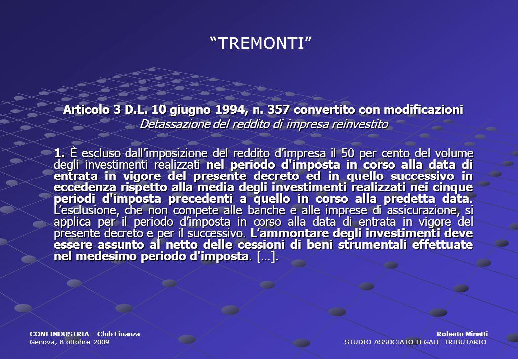 Articolo 3 D.L. 10 giugno 1994, n. 357 convertito con modificazioni