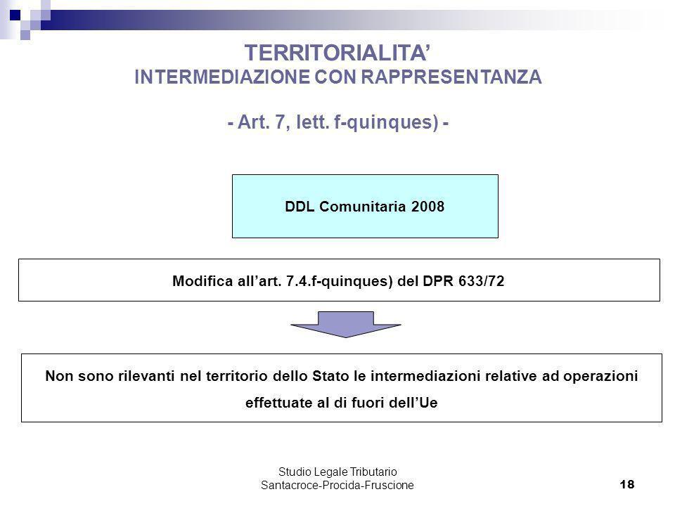 TERRITORIALITA' INTERMEDIAZIONE CON RAPPRESENTANZA