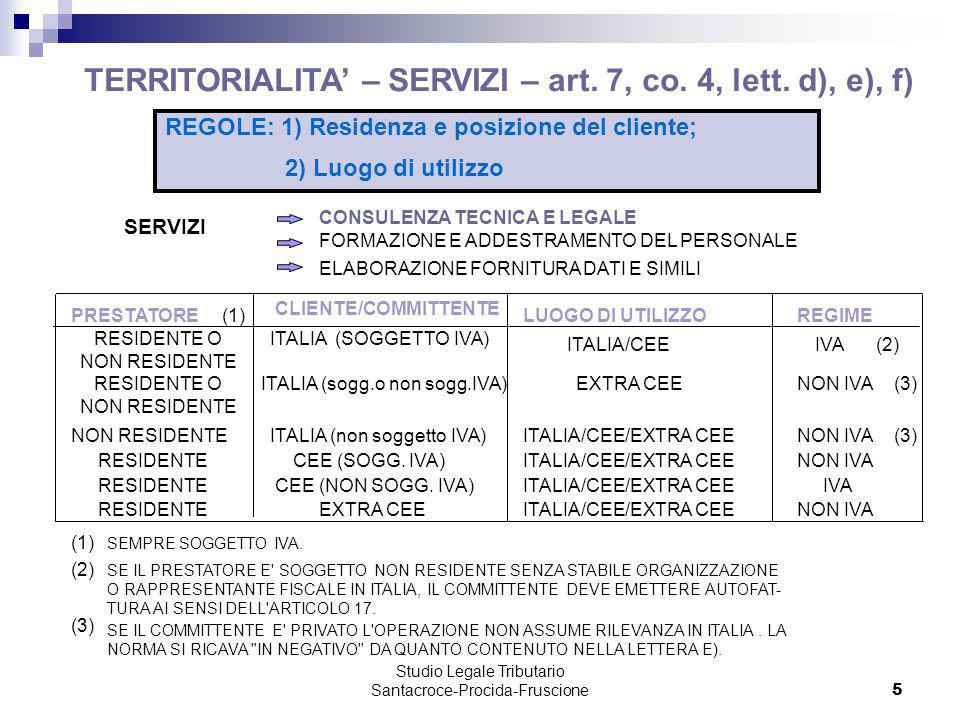 TERRITORIALITA' – SERVIZI – art. 7, co. 4, lett. d), e), f)