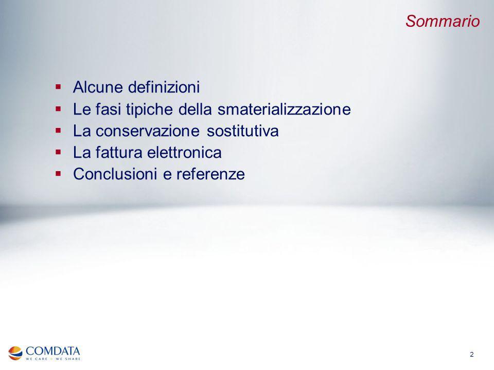 Sommario Alcune definizioni. Le fasi tipiche della smaterializzazione. La conservazione sostitutiva.