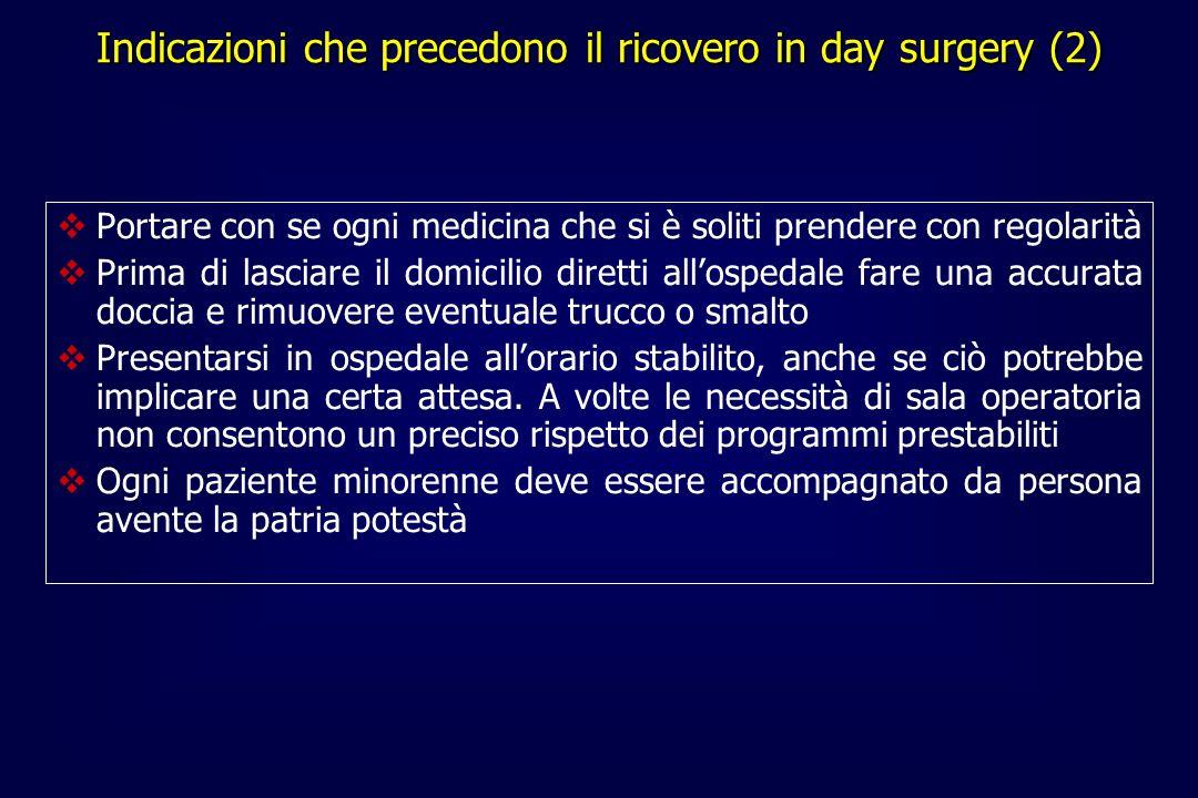 Indicazioni che precedono il ricovero in day surgery (2)