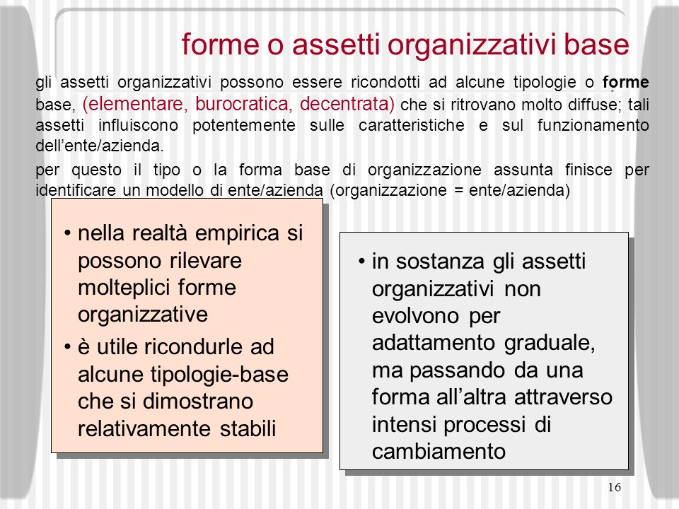 forme o assetti organizzativi base