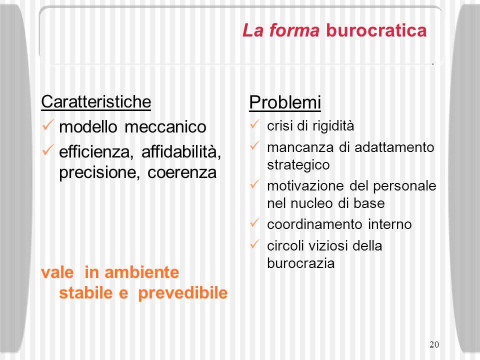 La forma burocratica Problemi Caratteristiche modello meccanico