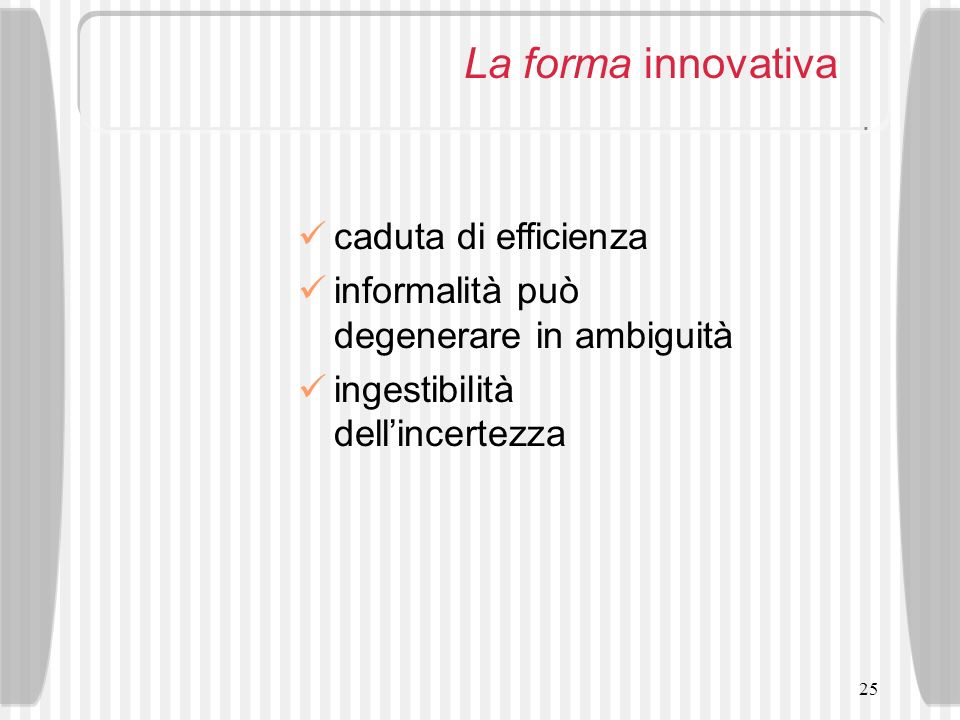La forma innovativa caduta di efficienza