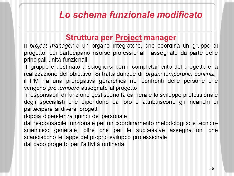 Struttura per Project manager