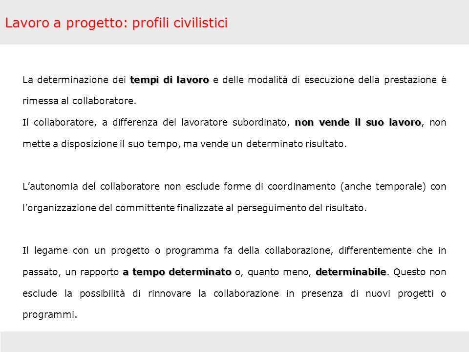 Lavoro a progetto: profili civilistici