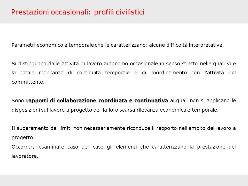 Prestazioni occasionali: profili civilistici