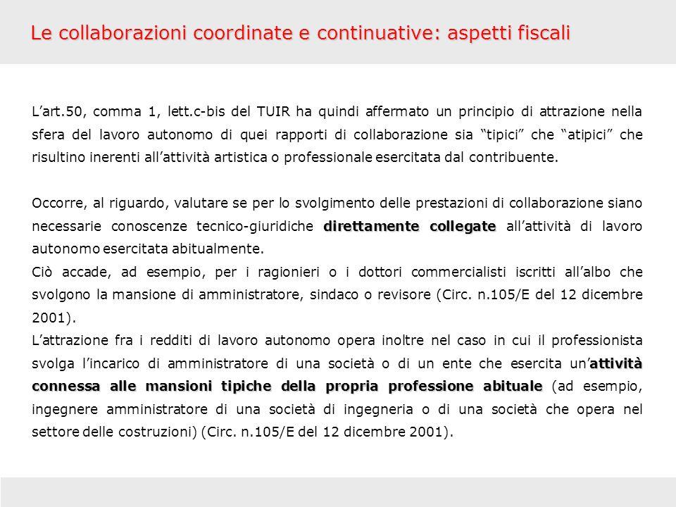 Le collaborazioni coordinate e continuative: aspetti fiscali